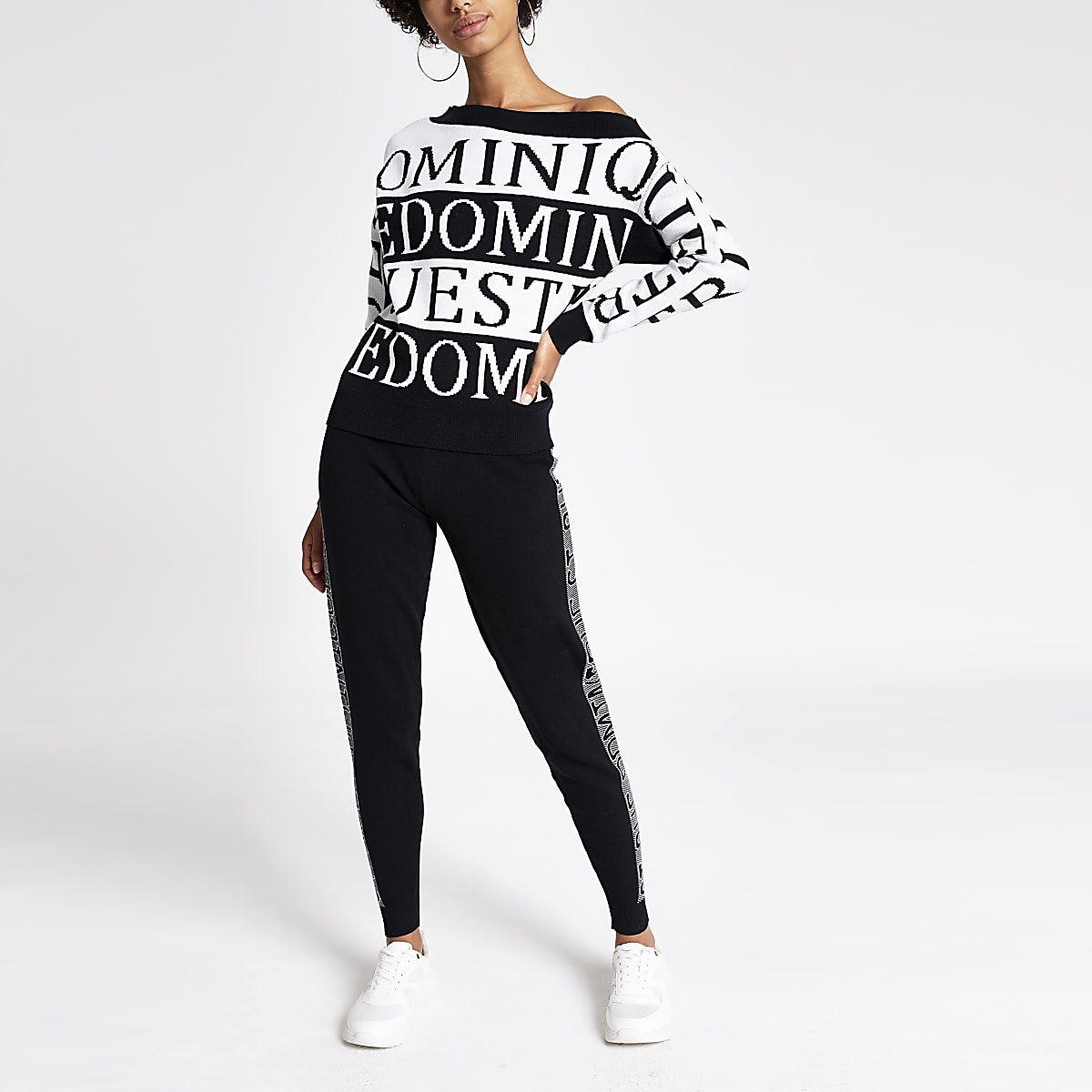 White word print off the shoulder jumper