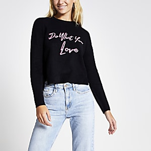 Marineblauwe cropped pullover met 'Do what you want' tekst