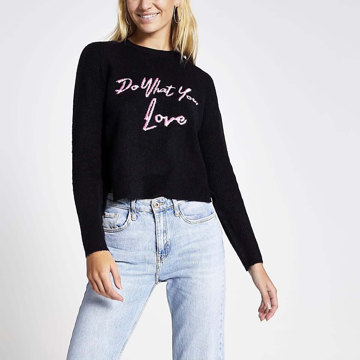Navy 'Do what you love' cropped jumper