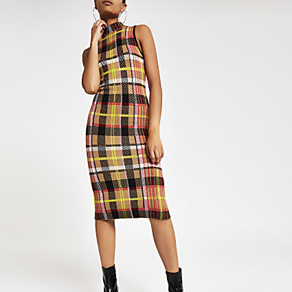 Brown check print knitted midi dress