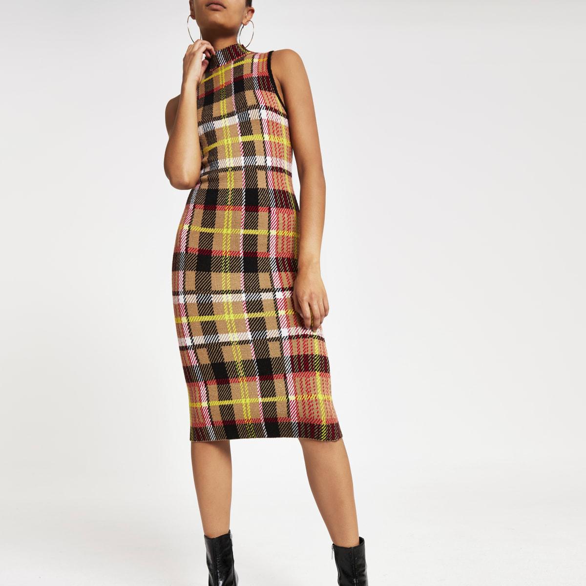 Brown check print knitted midi dress