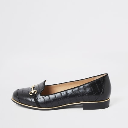 Black snaffle trim wide fit loafers
