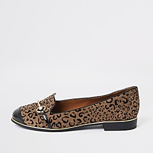 Brown leopard print wide fit loafers