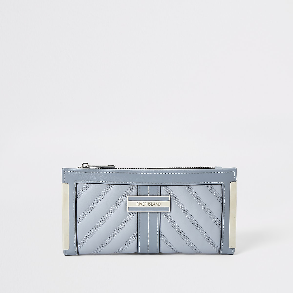 Light blue quilted fold out purse