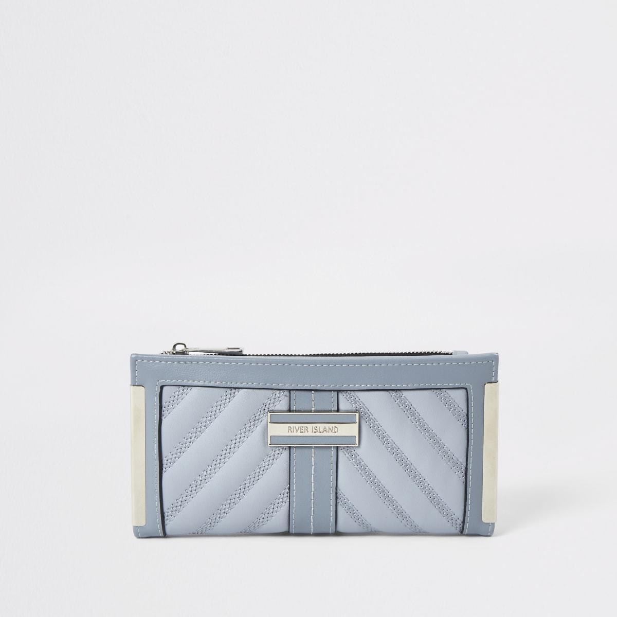 Lichtblauwe doorgestikte uitvouwbare portemonnee