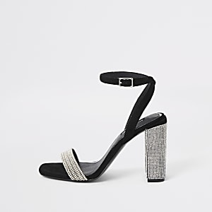 Black rhinestone block heel sandals