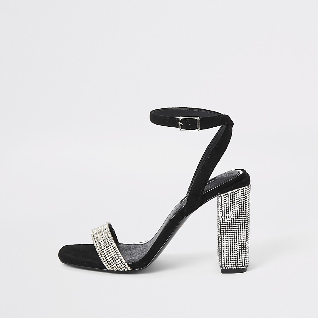 Zwarte sandalen met blokhak en stras