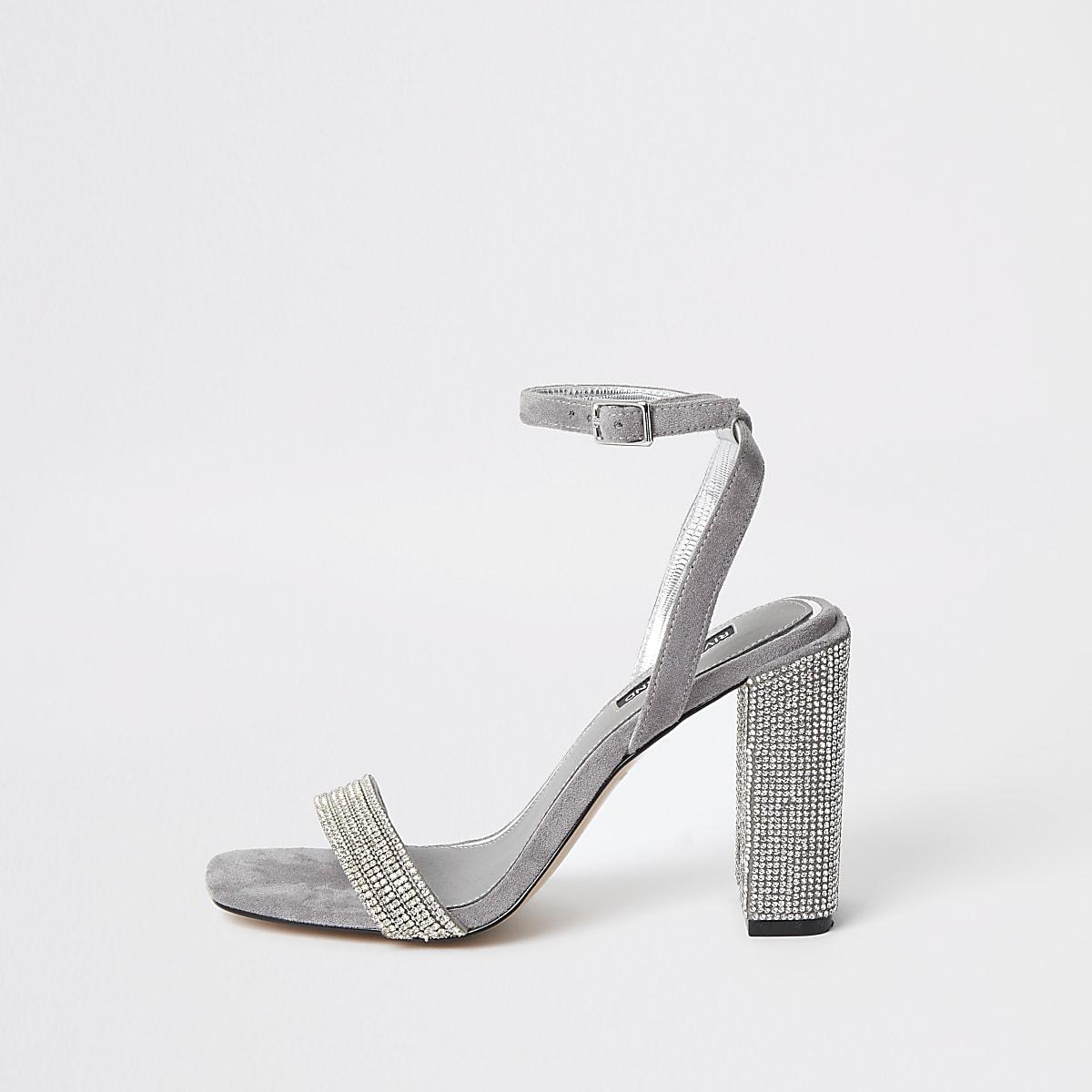 Grey rhinestone embellished block heel sandal