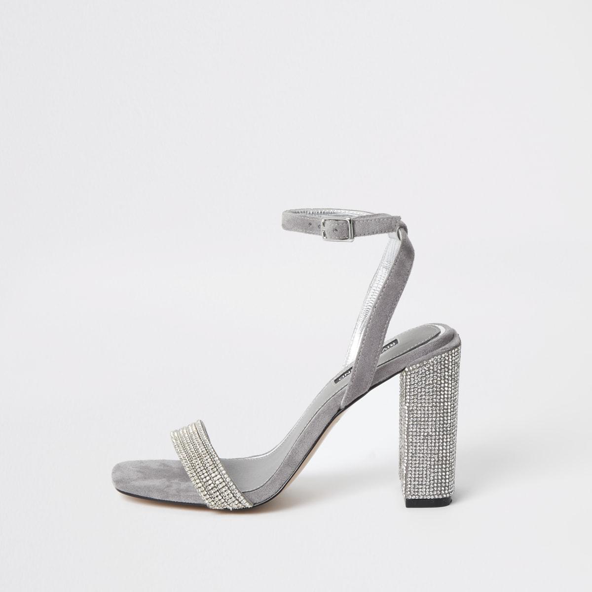 Grijze sandalen met blokhak en diamanté versiering