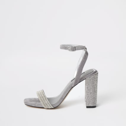 Grey diamante embellished block heel sandal