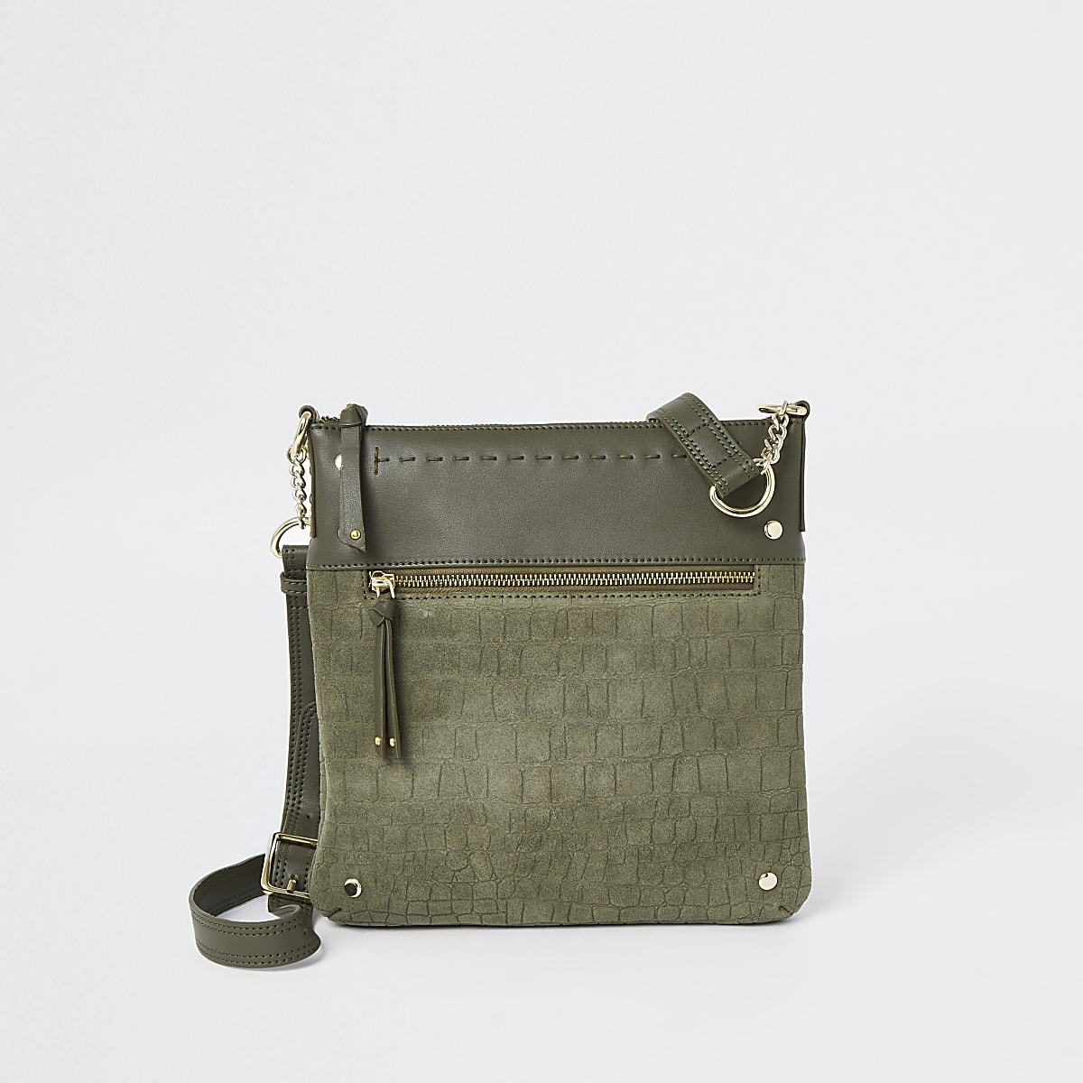 Khaki leather studded messenger bag