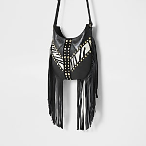 Black leather zebra print cross body bag