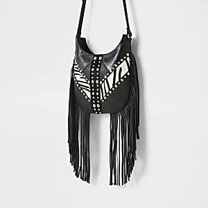 Schwarze Umhängetasche aus Leder mit Zebramuster