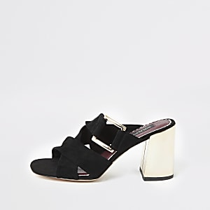 Black suede wide fit block heel mules