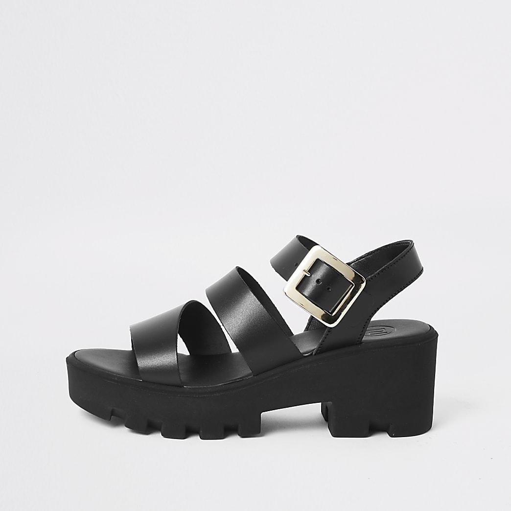 Zwarte leren sandalen met dikke zool