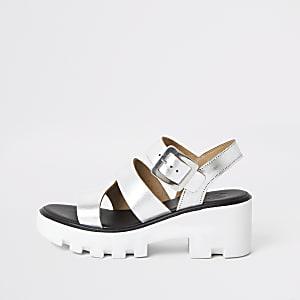 Zilverkleurig metallic sandalen met profielzool