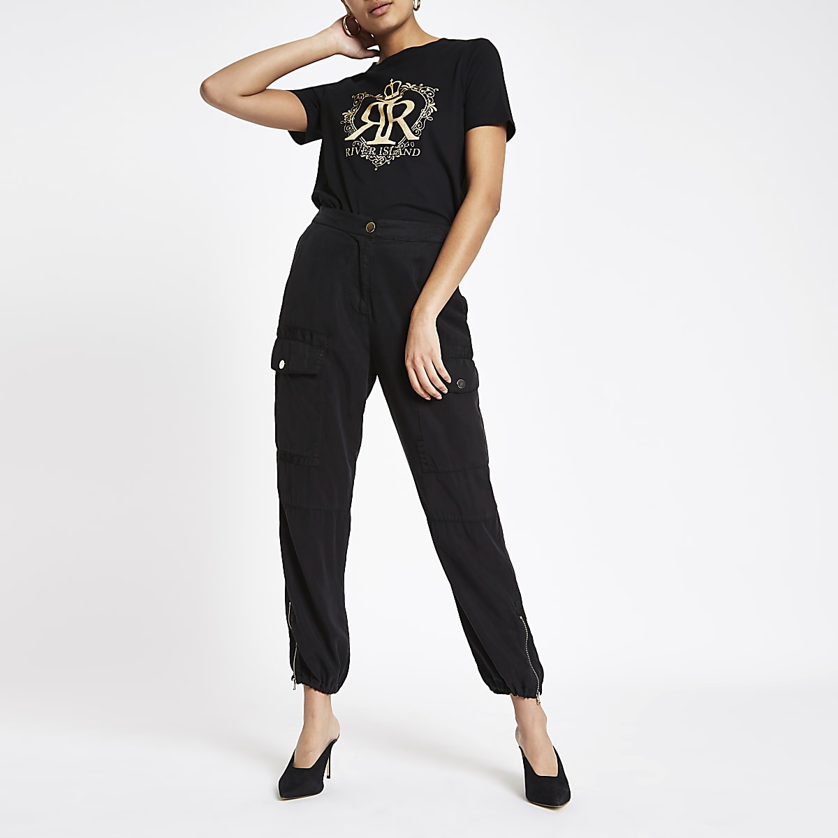 Black RI crown foil print T-shirt