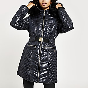 Navy high shine fitted padded jacket