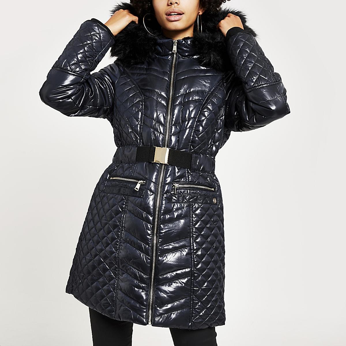 Marineblauwe aansluitende gewatteerde jas met hoogglans