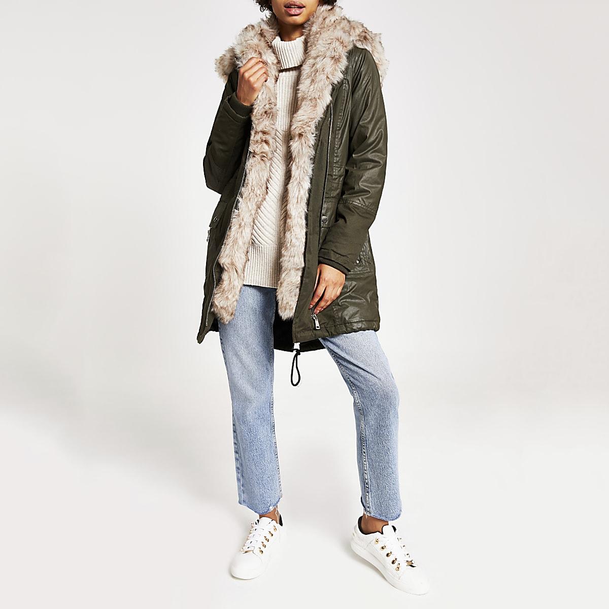 Khaki faux fur trim oversized parka