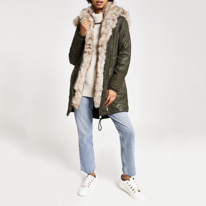 Khaki faux fur trim oversized parka
