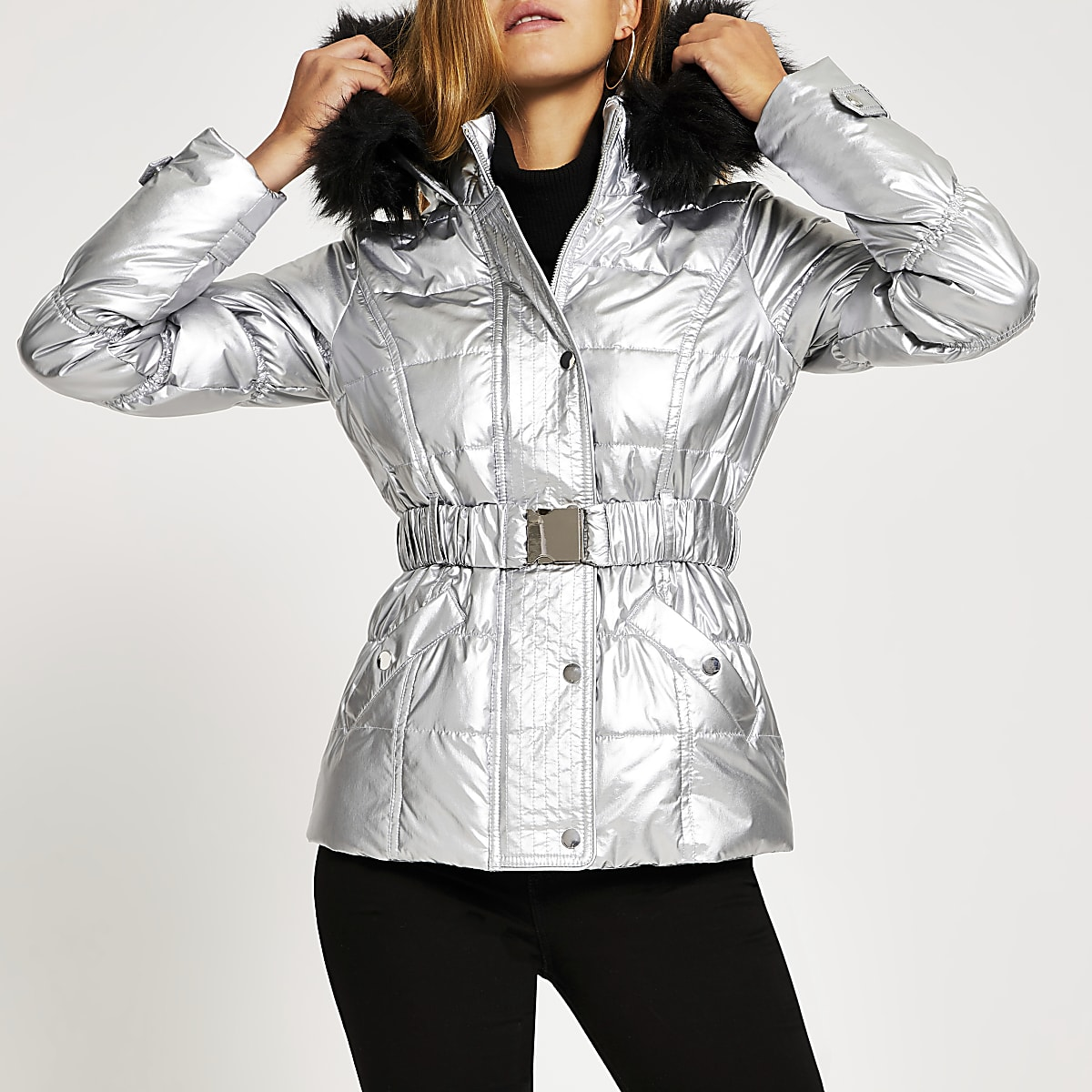 Silver quilted faux fur hood fitted jacket