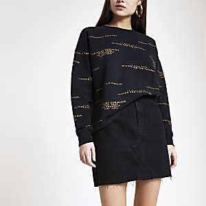 cd84ef1273e0f2 Zwart gestreept sweatshirt met ronde hals en print