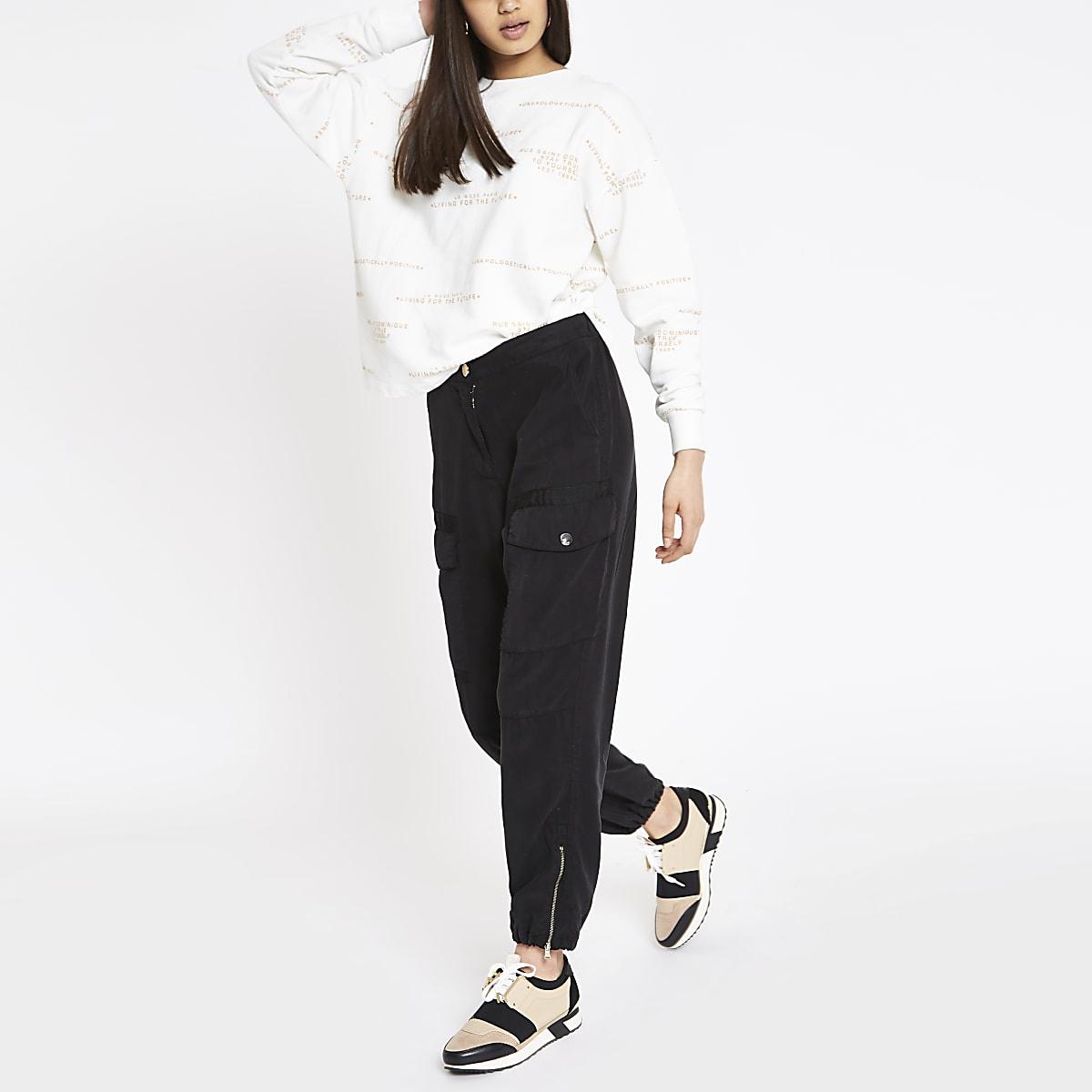 Crème sweatshirt met print en lange mouwen