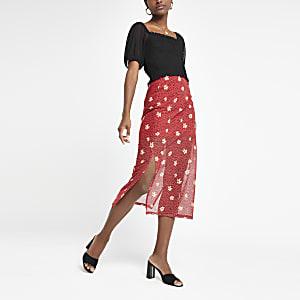 Red floral print mesh midi skirt