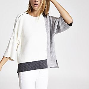 Cream block knitted T-shirt