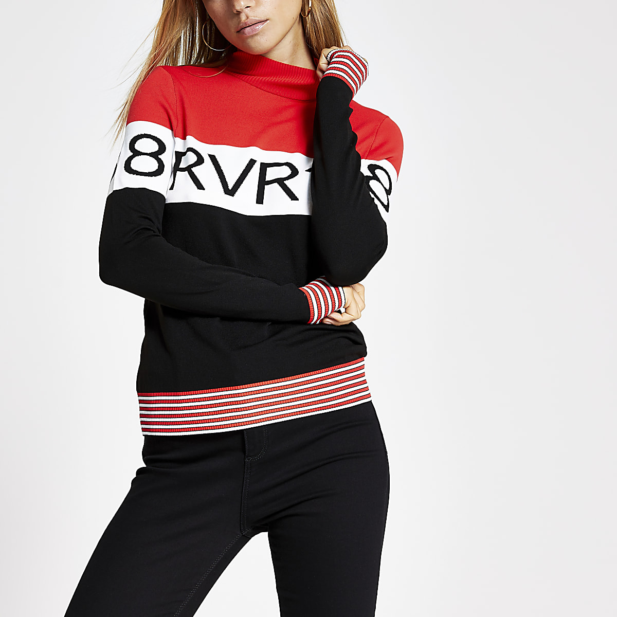 Red 'RVR88' long sleeve knitted top