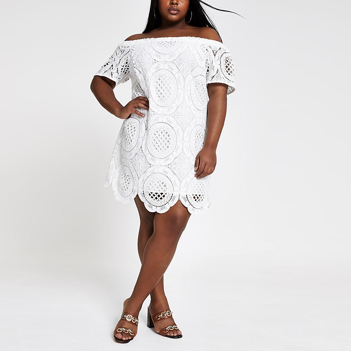 Plus white lace bardot dress