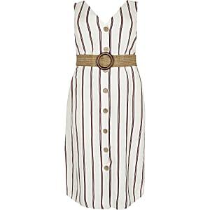 Plus – Robe mi-longue en lin rayée blanche à ceinture