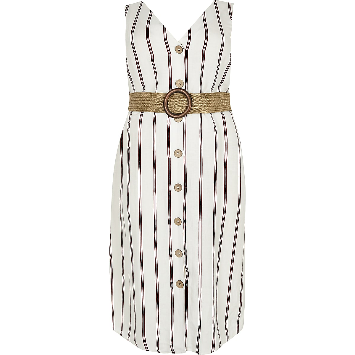 Plus white stripe belted linen midi dress