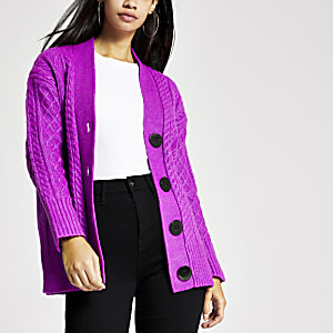 Purple cable knitted oversized cardigan