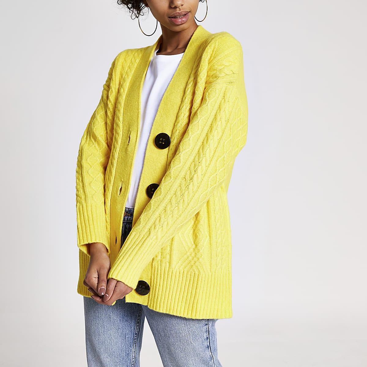 Geel oversized vest met kabel breipatroon