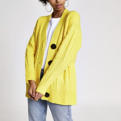 Yellow cable knitted oversized cardigan