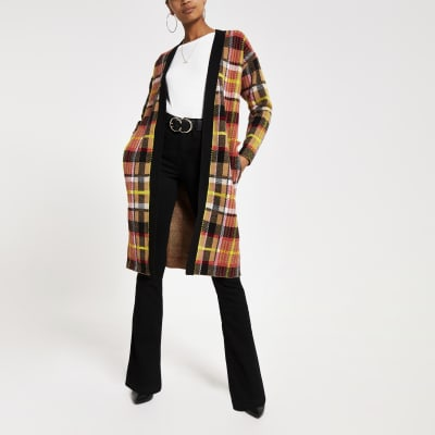 Brown Check Print Knitted Longline Cardigan by River Island