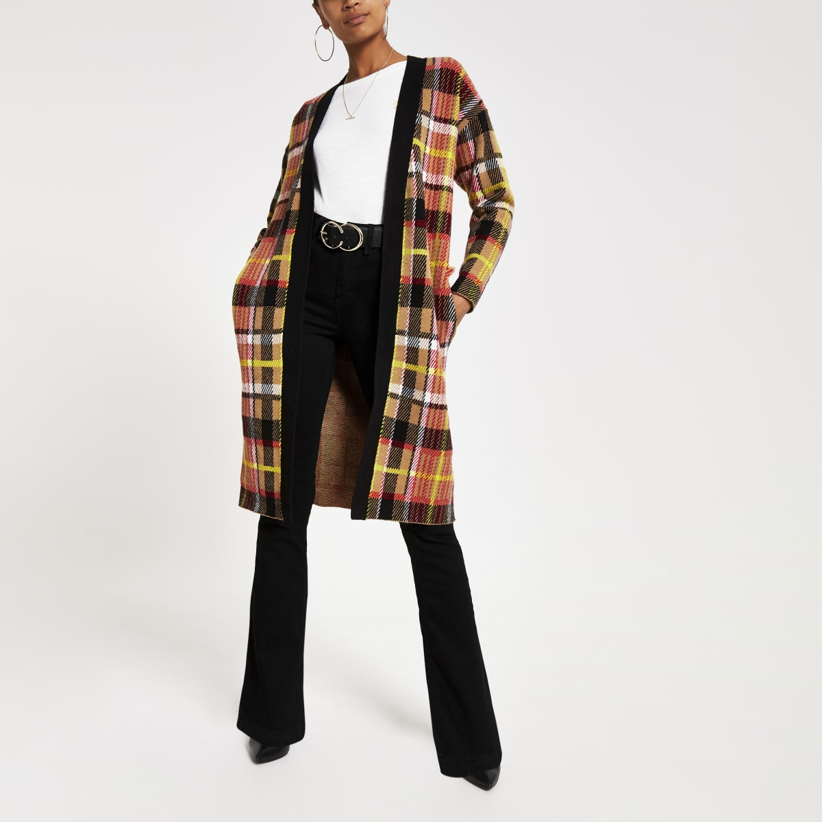 Brown check print knitted longline cardigan