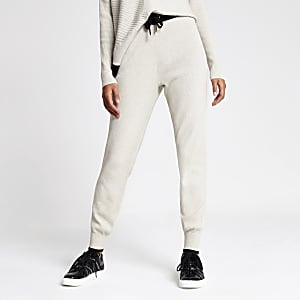 Cream knitted joggers