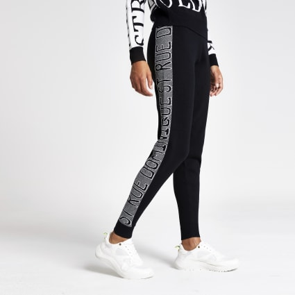 Black word print joggers