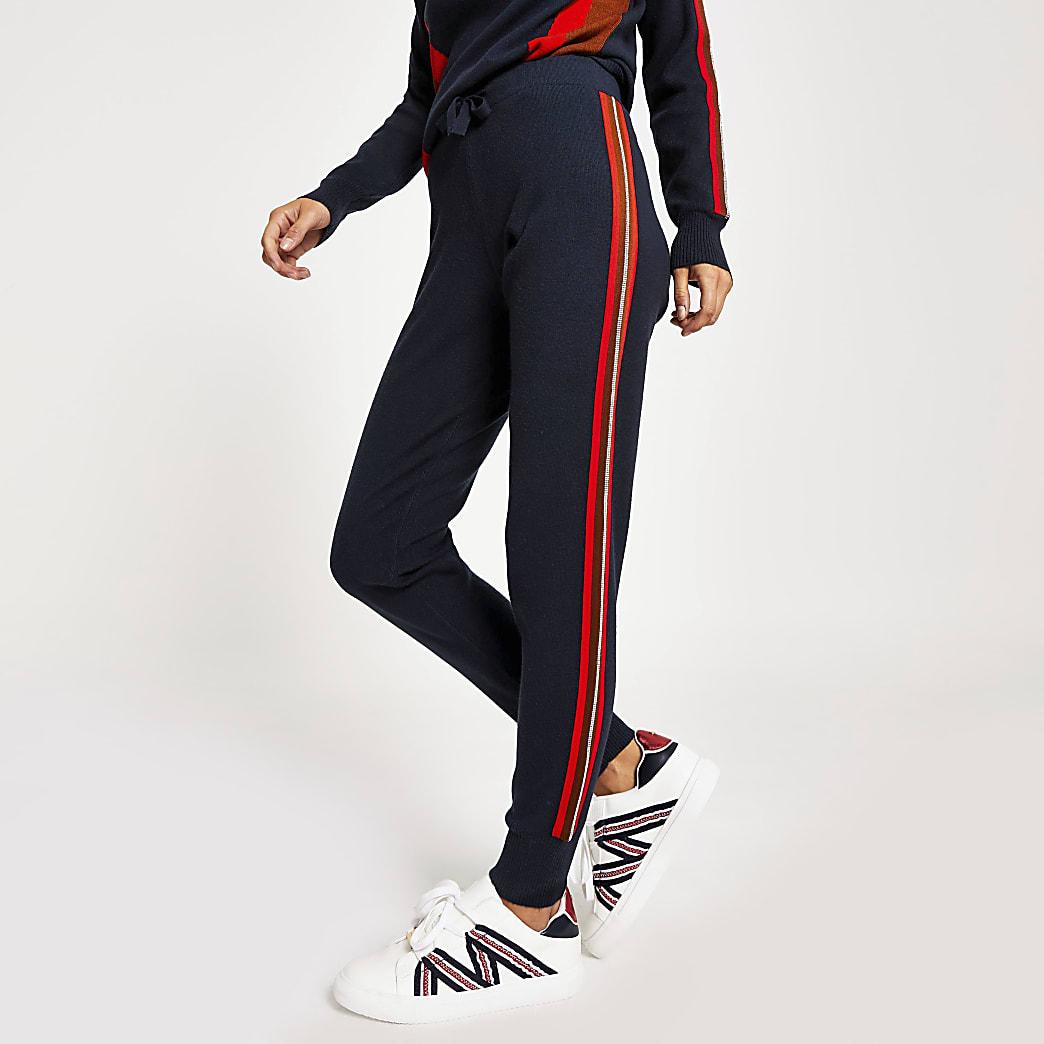 Pantalon de jogging en maille bleu marine avec strass