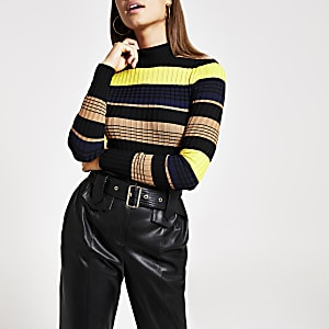 Navy stripe ribbed knit high neck top