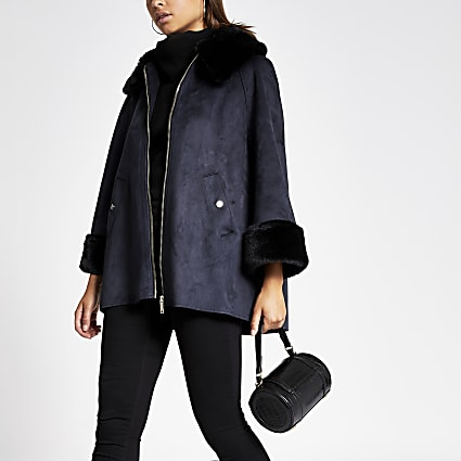 Navy faux suede cape jacket