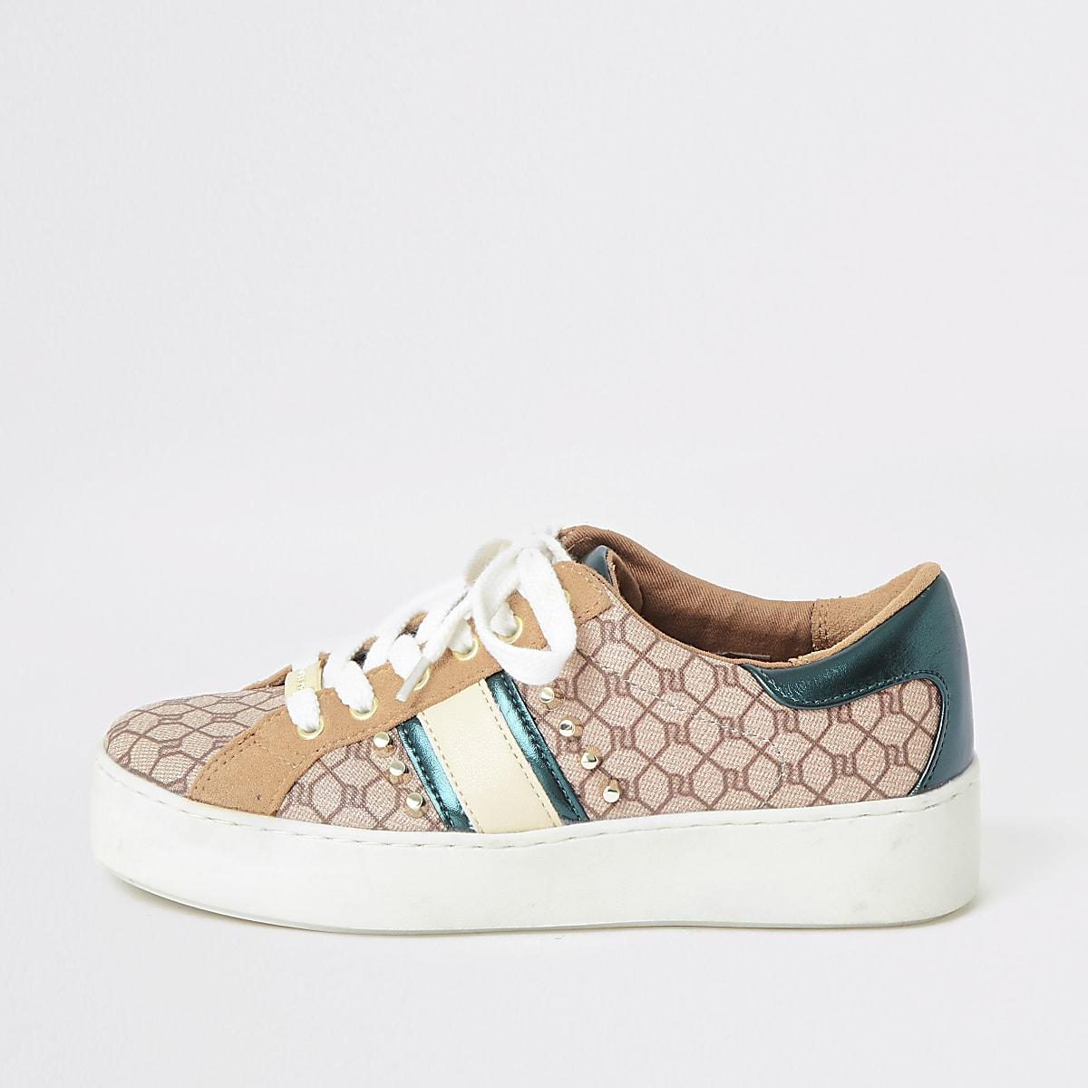Bruine sneakers met RI-monogram