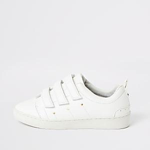 Baskets blanches à velcro