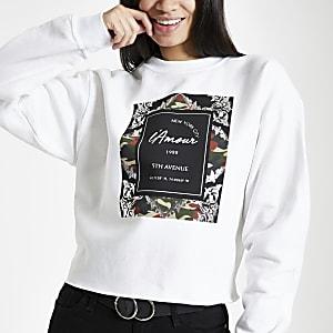 White camo baroque print sweatshirt