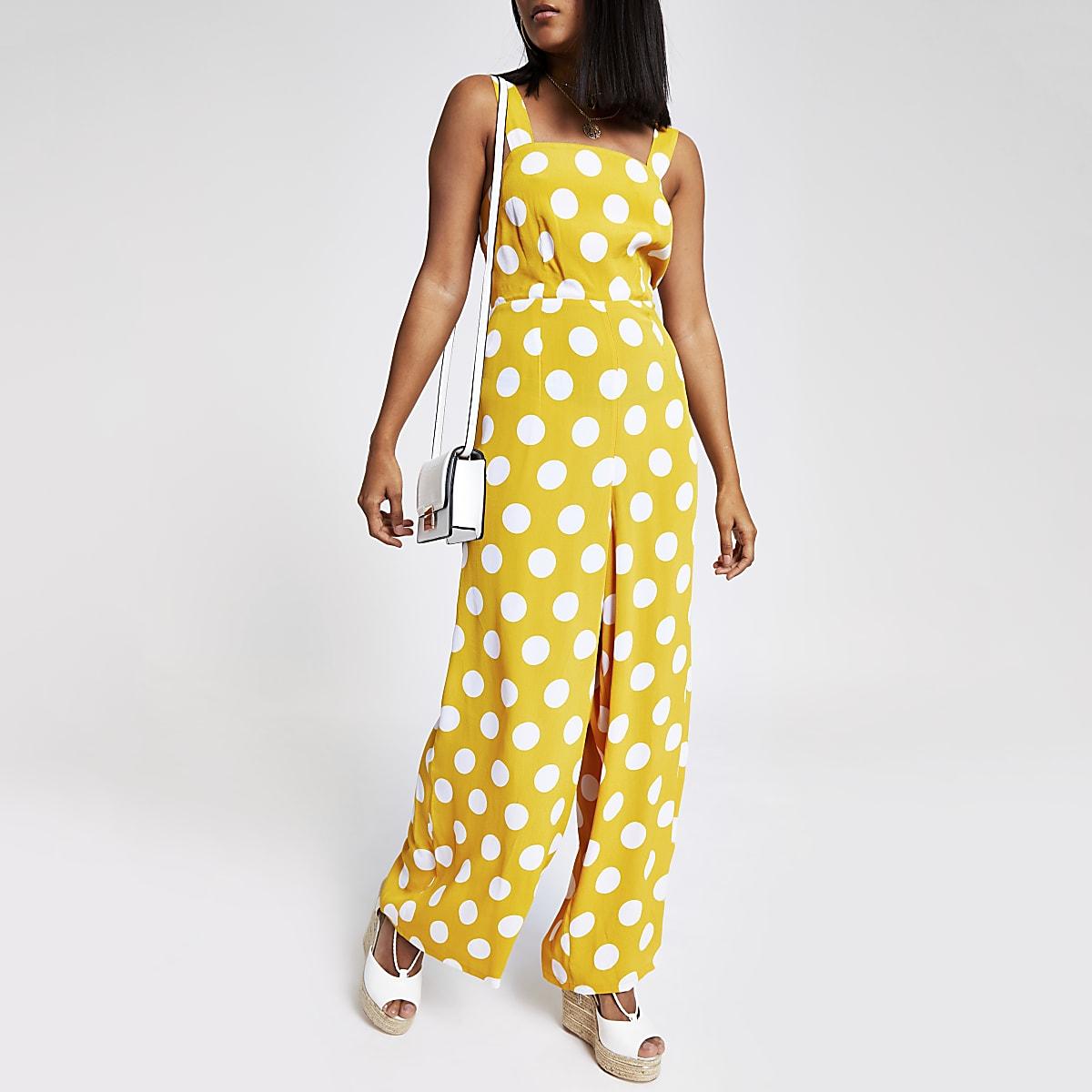 Petite yellow spot wide leg jumpsuit