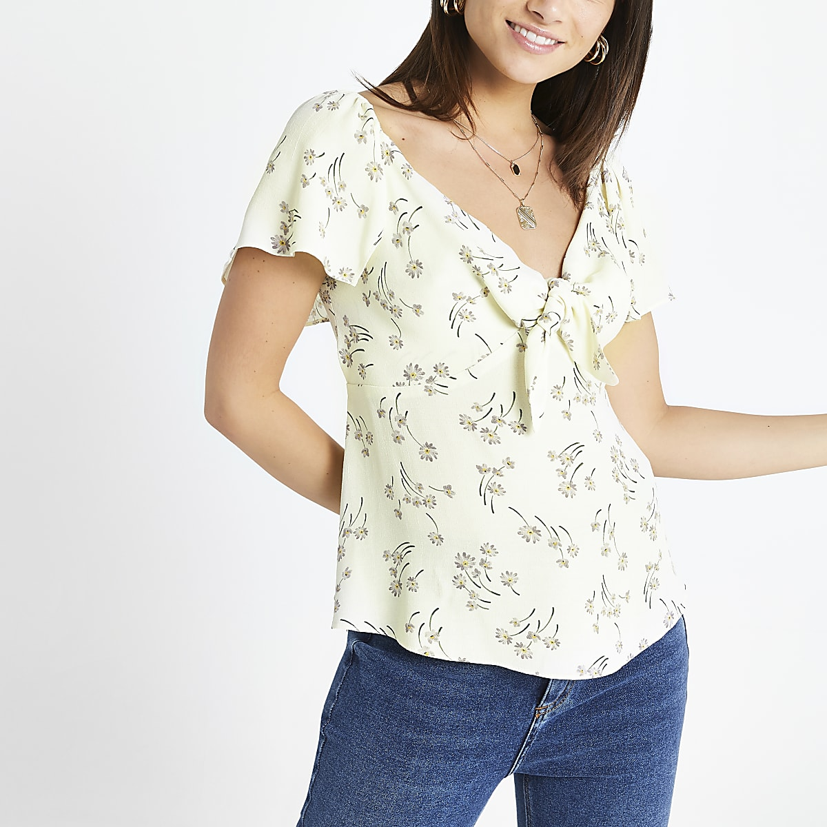 Petite cream ditsy floral tea top