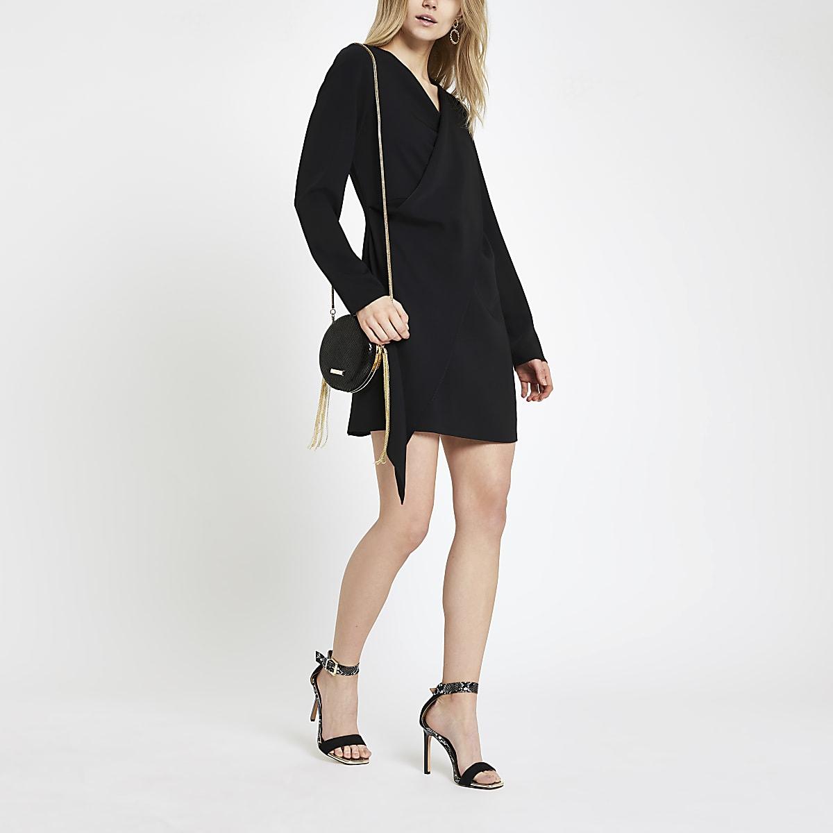 Black wrap swing dress